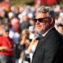 Sep 29, 2016; Chaska, MN, USA; Team Europe captain Darren Clarke during Opening Ceremony for the 41st Ryder Cup at Hazeltine National Golf Club. Mandatory Credit: John David Mercer-USA TODAY Sports