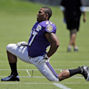 Baltimore Ravens running back Ray Rice stretches during an NFL football training camp, Saturday, July 26, 2014, in Owings Mills, Md. (AP Photo/Patrick Semansky)