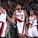 PORTLAND, OR - MARCH 5: Alonzo Gee #33 of the Portland Trail Blazers celebrates during a game against the Dallas Mavericks on March 5, 2015 at the Moda Center in Portland, Oregon. (Photo by Cameron Browne/NBAE via Getty Images)