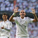 MADRID, SPAIN - OCTOBER 25:  Pepe of Real Madrid CF celebrates after scoring his team's 2nd goal from the penalty spot during the La Liga match between Real Madrid CF and FC Barcelona at Estadio Santiago Bernabeu on October 25, 2014 in Madrid, Spain.  (Photo by Denis Doyle/Getty Images)
