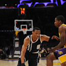 LOS ANGELES, CA - DECEMBER 19: Russell Westbrook #0 of the Oklahoma City Thunder drives against the Los Angeles Lakers at STAPLES Center on December 19, 2014 in Los Angeles, California. (Photo by Juan Ocampo/NBAE via Getty Images)