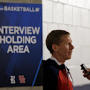 Gonzaga head coach Mark Few answer a question after a practice at the NCAA college basketball tournament, Saturday, March 28, 2015, in Houston. Gonzaga plays Duke in a regional final on Sunday. (AP Photo/Charlie Riedel)