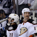 Anaheim Ducks Corey Perry (10) celebrates after scoring against the Winnipeg Jets' during the second period of game three NHL playoff hockey action in Winnipeg, Manitoba, Monday, April 20, 2015. (Trevor Hagan/The Canadian Press via AP) MANDATORY CREDIT