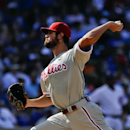 Philadelphia Phillies' starting pitcher Cole Hamels delivers during the sixth inning of baseball game against the Chicago Cubs in Chicago, Saturday, July 25, 2015. (AP Photo/Matt Marton)