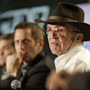 Team owner Jack Roush, right, listen to a question from the media during the NASCAR Charlotte Motor Speedway media tour in Charlotte, N.C., Wednesday, Jan. 28, 2015. (AP Photo/Chuck Burton)