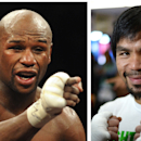 Combo photo shows Floyd Mayweather (L) pictured after his super welterweight title bout in Las Vegas on May 5, 2012, and Manny Pacquiao seen preparing for a media workout on April 2, 2014 in Hollywood (AFP Photo/)