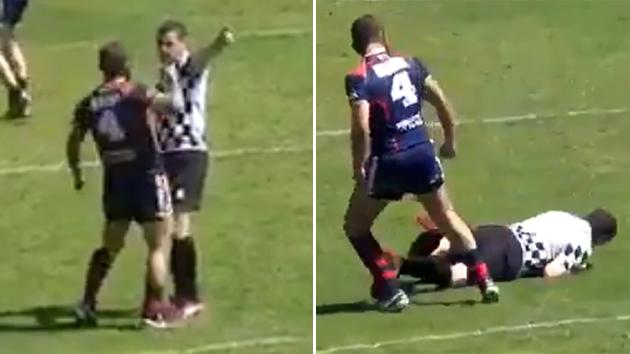 Angry rugby league player knocks out ref cold!