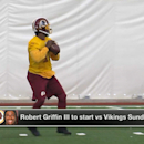 NFL Media Insider Ian Rapoport reports that Washington Redskins quarterback Robert Griffin III will start this Sunday upon his return from an ankle injury.