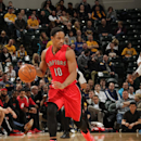 INDIANAPOLIS, IN - JANUARY 27: DeMar DeRozan #10 of the Toronto Raptors brings the ball up court against the Indiana Pacers on January 27, 2015 at Bankers Life Fieldhouse in Indianapolis, Indiana. (Photo by Ron Hoskins/NBAE via Getty Images)
