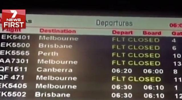 Travellers have been urged to check their flights before heading to the airport with a power outage causing delays