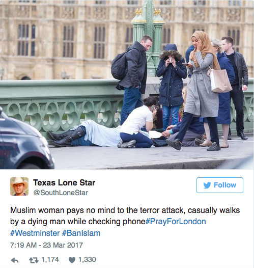 Twitter Outrage Over Mulsim Woman Walking Past Injured Person