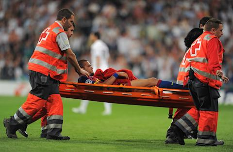 Dani Alves stretchered off after Pepe foul
