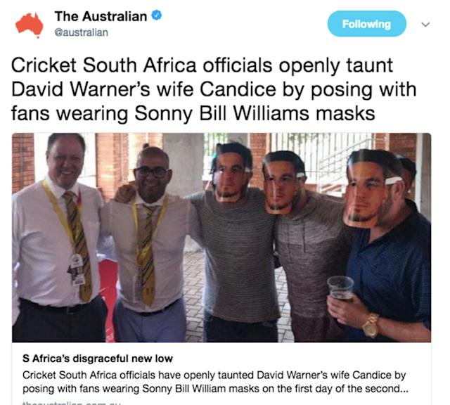 Cricket South Africa officials caught posing with fans in Sonny Bill masks