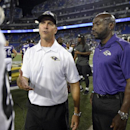 In this photo taken on Sept. 11, 2014, Pittsburgh Steelers linebacker Lawrence Timmons, left, talks with Baltimore Ravens head coach John Harbaugh, as Ravens senior director of security Darren Sanders stands at right, after an NFL football game in Baltimore. Sanders was charged, Tuesday, Dec. 30, 2014, with a sex offense and is due in court in February, according to court records. (AP Photo/Nick Wass)