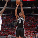 LOS ANGELES, CA - MAY 2: Kawhi Leonard #2 of the San Antonio Spurs shoots against the Los Angeles Clippers in Game Seven of the Western Conference Quarterfinals during the 2015 NBA Playoffs on May 2, 2015 at STAPLES Center in Los Angeles, California. (Photo by Andrew D. Bernstein/NBAE via Getty Images)