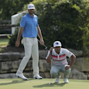 Mar 26, 2017; Austin, TX, USA; Hideto Tanihara of Japan plays against Dustin Johnson of the United States during the final round of the World Golf Classic - Dell Match Play golf tournament  at Austin Country Club. Mandatory Credit: Erich Schlegel-USA TODAY Sports