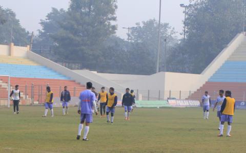 Pailan Arrows players practice at the Ambedkar Stadium
