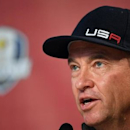 Sep 28, 2016; Chaska, MN, USA; Team USA captain Davis Love III addresses the media following their practice round for the 41st Ryder Cup at Hazeltine National Golf Club. John David Mercer-USA TODAY Sports