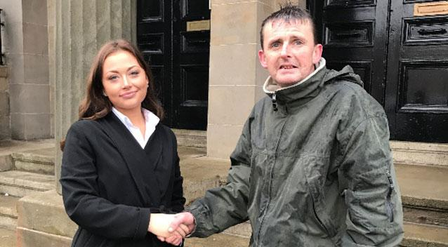 Homeless man John Mc Geown has been praised for guarding Alyshia Orford's purse while she was inside a court house. Source Facebook