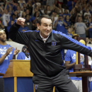 FILE - In this April, 2015 file photo, Duke coach Mike Krzyzewski reacts during a homecoming celebration for the national championship Duke basketball team at Cameron Indoor Stadium in Durham, N.C. Krzyzewski has won the eighth annual Lapchick Character Award for 2015. (AP Photo/Gerry Broome, File)