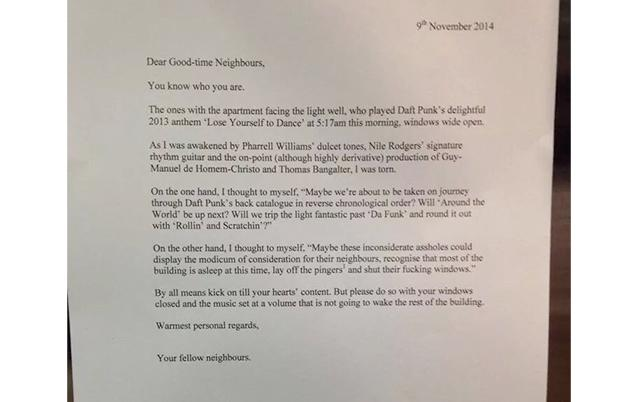 Neighbour pens friendliest noise complaint ever is this the nicest and most appreciative complaint youve seen photo reddit spiritdancerdesigns Gallery
