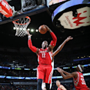 NEW ORLEANS, LA - MARCH 25: Dwight Howard #12 fo the Houston Rockets grabs a rebound against the New Orleans Pelicans on March 25, 2015 at Smoothie King Center in New Orleans, Louisiana. (Photo by Layne Murdoch Jr./NBAE via Getty Images)