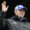 FILE - In this March 1, 2015, file photo, Driver Brett Moffitt is introduced before the Folds of Honor Quicktrip 500 NASCAR Sprint Cup series auto race at Atlanta Motor Speedway in Hampton, Ga. Moffitt went to Atlanta with exactly one race on his 2015 schedule. An eighth-place finish as Brian Vickers' replacement now might have the Michael Waltrip Racing development driver on the verge of putting together some more races. (AP Photo/John Amis, File)