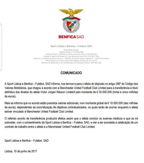 Benfica Lindelof release