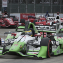 Sebastien Bourdais, of France, drives through a corner during the second race of the IndyCar Detroit Grand Prix auto racing doubleheader, Sunday, May 31, 2015, in Detroit. Bourdais won the race. (AP Photo/Dave Frechette)