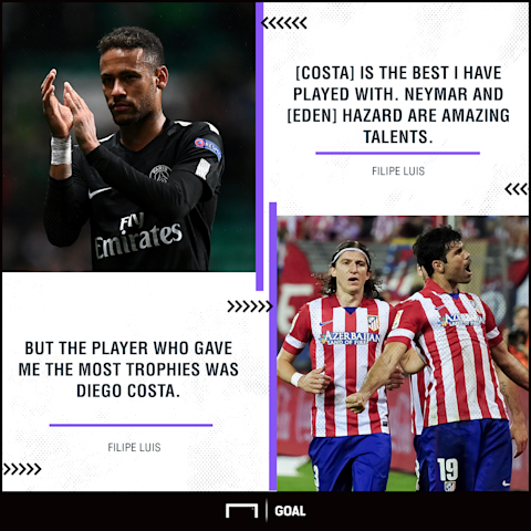 Diego Costa is better than Neymar and Eden Hazard, says Filipe Luis