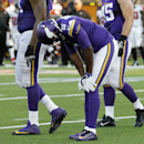 FILE - In this Sunday, Sept. 28, 2014, file photo, Minnesota Vikings quarterback Teddy Bridgewater (5) reacts after getting injured during the second half of an NFL football game against the Atlanta Falcons in Minneapolis. Bridgewater's first start for the Minnesota Vikings couldn't have been better, except of course for the sprained left ankle in the fourth quarter that forced him out of the 41-28 victory over Atlanta.(AP Photo/Ann Heisenfelt, File)