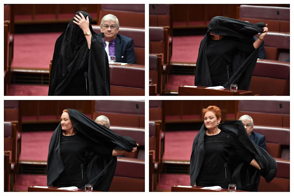 George Brandis lashes out at Pauline Hanson's burqa stunt