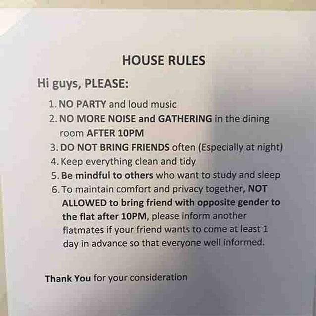 how to make a list of house rules