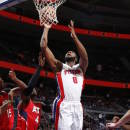 AUBURN HILLS, MI - MARCH 31: Andre Drummond #0 of the Detroit Pistons takes a shot against the Atlanta Hawks on March 31, 2015 at the Palace of Auburn Hills in Auburn Hills, Michigan. (Photo by B. Sevald/Einstein/NBAE via Getty Images)