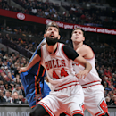 CHICAGO, IL - MARCH 05: Nikola Mirotic #44 of the Chicago Bulls battles for position against the Oklahoma City Thunder on March 5, 2015 at the United Center in Chicago, Illinois. (Photo by Randy Belice/NBAE via Getty Images)