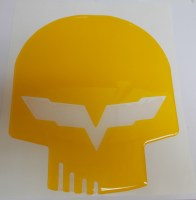 C6 Jake Skull Emblem Domed Decal  10 inch Assorted Colors