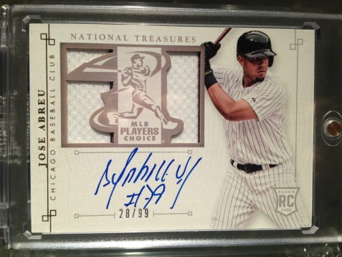 2014 NationalTreasures Jose Abreu Autographed Card