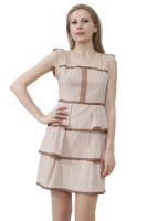 Tan with brown piping 3 ruffles dress