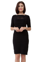 Rushed knee length dress with three fourth link sleeve