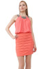 Blouson style dress with hand beaded bib neckline-Coral-Small