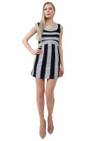 Sleeveless knit dress with silver bandage style stripes