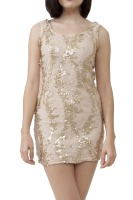 Lined lace dress with gold oval sequence