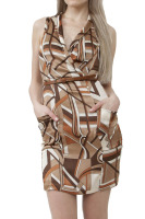 Abstract print dress with pockets and belt