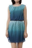 Omber style sleeveless polka dot dress with belt