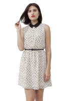 Cross print dress with u opening in the back