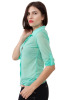 Chiffon top with v back-Green-Small