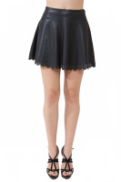 Floral stamp leather look mini skirt