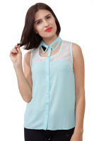 Chiffon top with detailed collar and trendy back