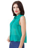 Chiffon spread collar top folded front detail-Green-Small