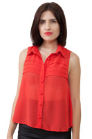 Chiffon spread collar top folded front detail